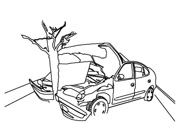 600x463 Crashed Cars To Tree Coloring Pages