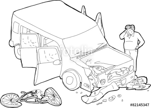 500x360 Outline Of Crashed Car And Bicyclist Stock Image And Royalty Free