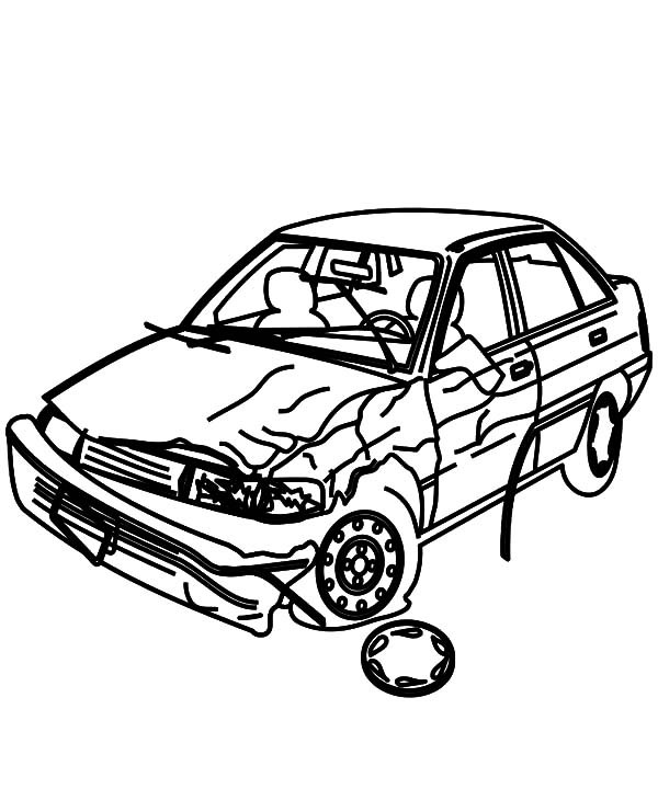 Crashed car drawing at free for personal for Car crash coloring pages