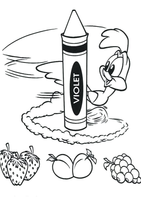 600x844 Crayons Coloring Pages Baby Roadrunner Drawing Fruits With Crayons