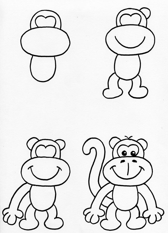 650x900 Cute Monkey! The Steps Are Easy To Follow! Ask Children To Draw It