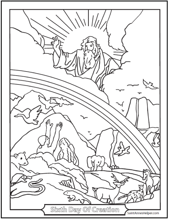 590x762 adam and eve coloring page sixth day of creation - Creation Coloring Pages 2