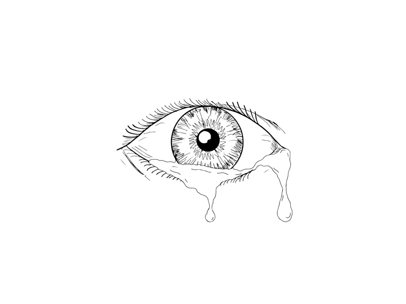800x600 Human Eye Crying Tears Flowing Drawing By Aloysius Patrimonio