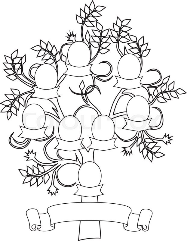 622x800 Vector Illustration Of Empty And Creative Family Tree Stock