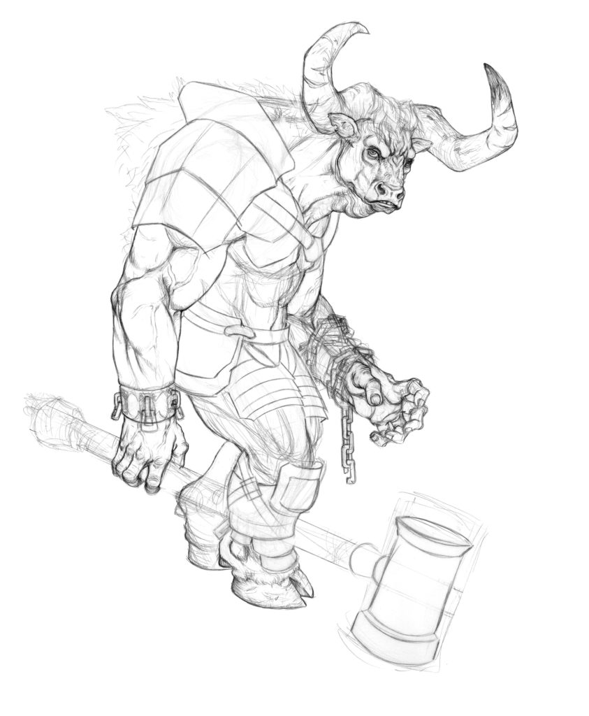 843x1024 Creating Fantasy Creatures How To Draw A Minotaur