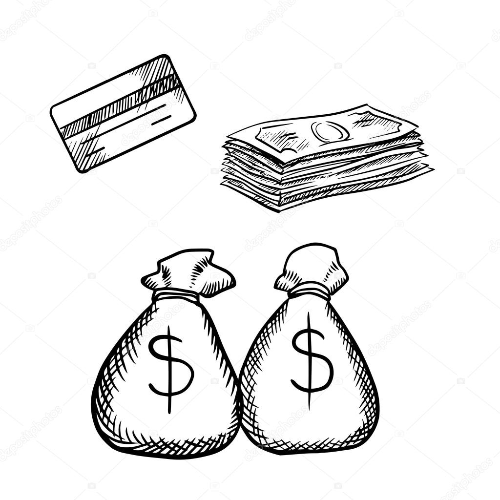 1024x1024 Credit Card, Dollar Bills And Money Bags Stock Vector