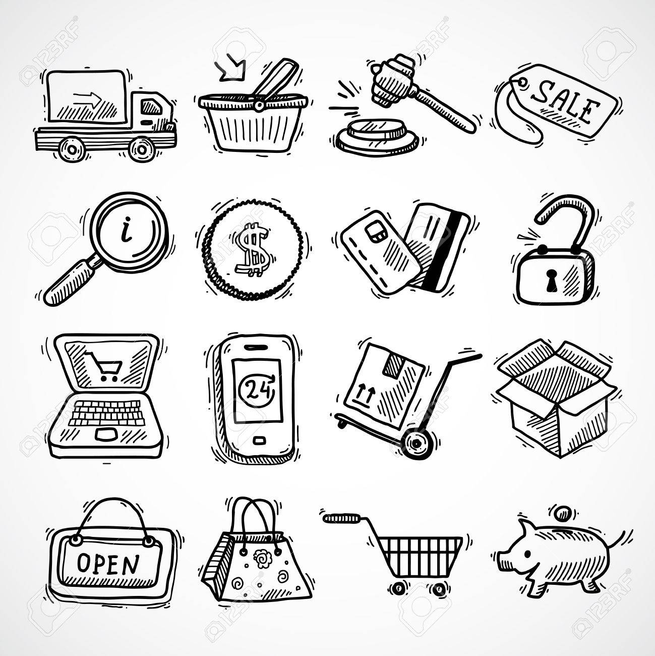 1299x1300 E Commerce Shopping Icons Sketch Set Of Delivery Truck Credit Card