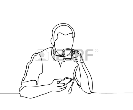 450x375 Man Entering Credit Card In Swipe Machine. Continuous Line Drawing