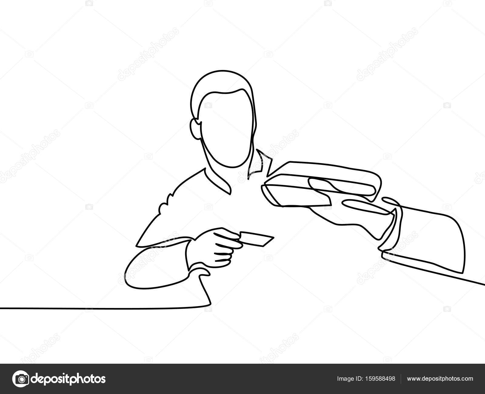 1600x1300 Man Entering Credit Card In Swipe Machine. Stock Vector