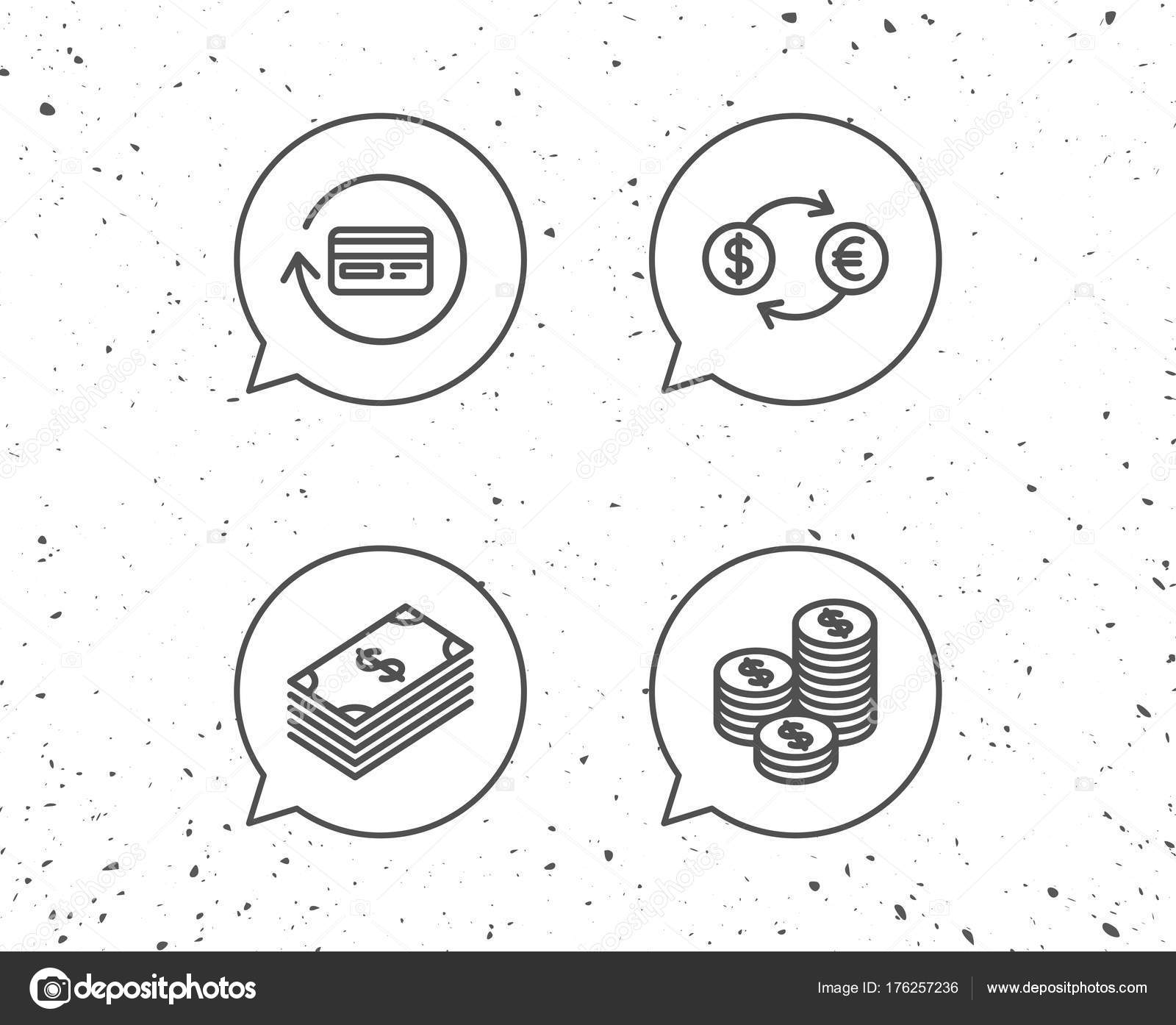 1600x1394 Speech Bubbles Signs Money Cash Currency Exchange Line Icons