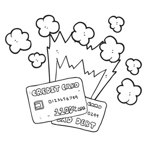 300x300 Freehand Drawn Black And White Cartoon Credit Card Debt Royalty