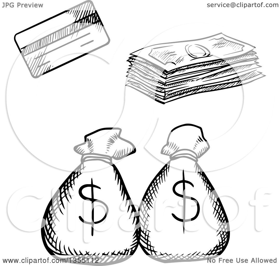1080x1024 Clipart Of A Black White Sketched Credit Card, Cash Money
