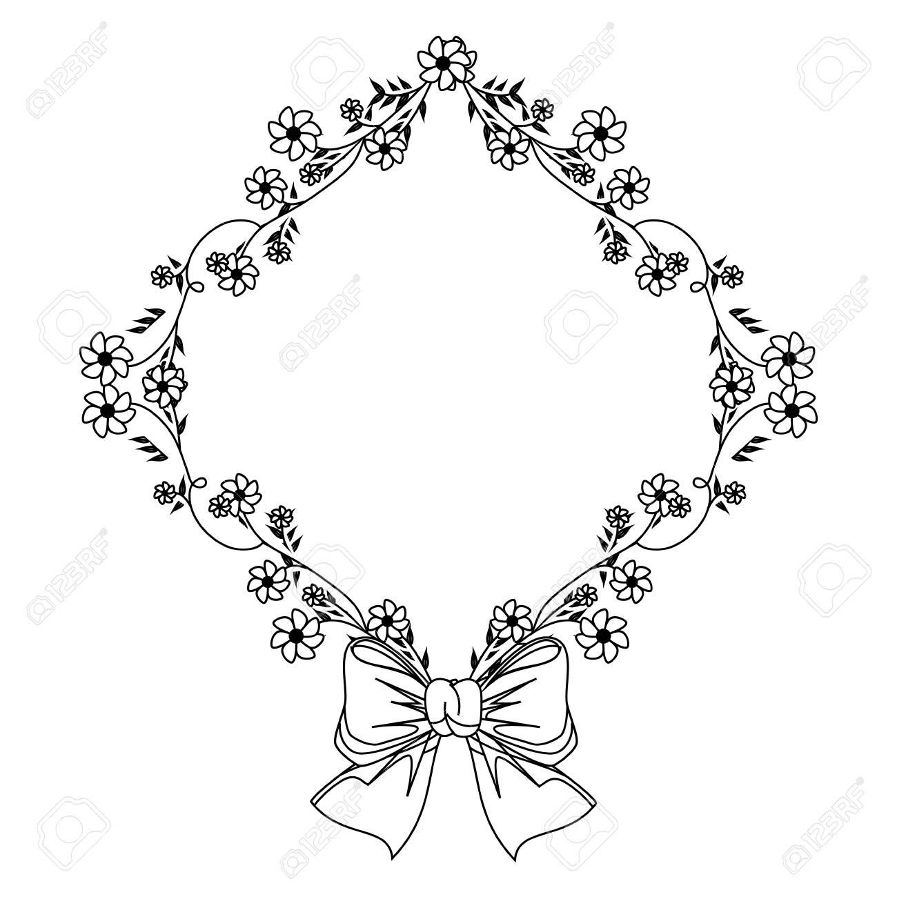 1300x1300 Monochrome Contour With Diamond Frame With Creepers And Flowers