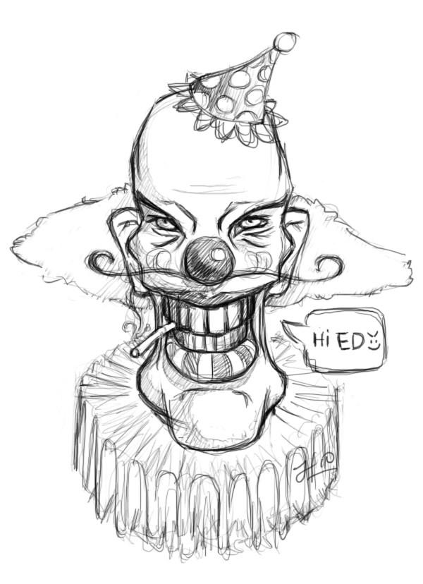 600x828 Creepy Clown Drawings