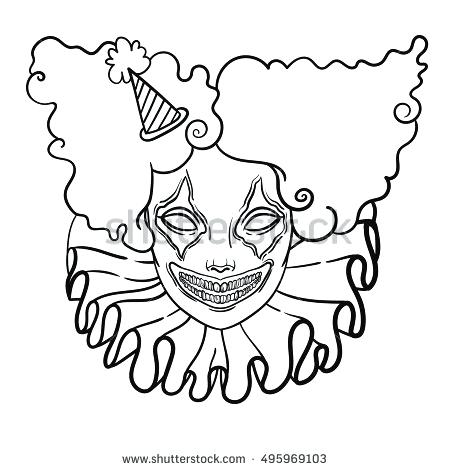 450x470 Clown Faces To Color Vector Poster With An Evil Clown Linear