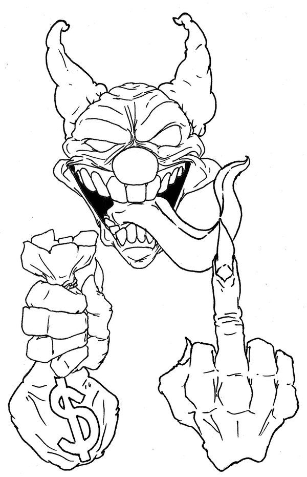 600x931 Coloring Pages Drawings Of Clowns Creepy Clown By Masterxeno