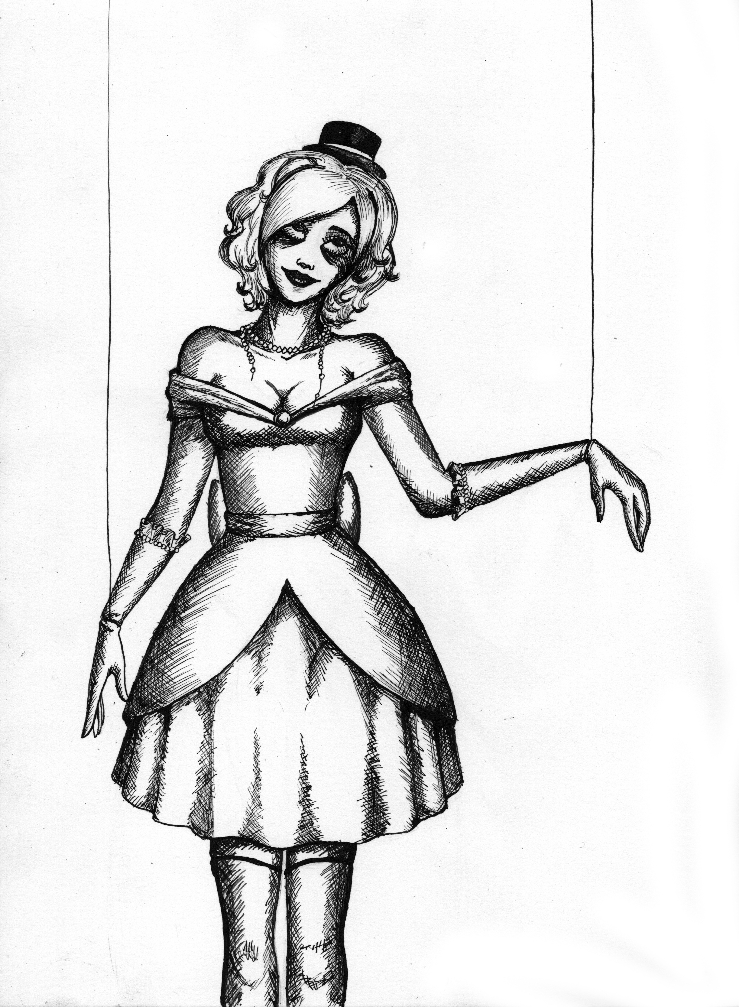 2445x3331 Creepy Doll Drawing Drawn Doll Creepy Puppet
