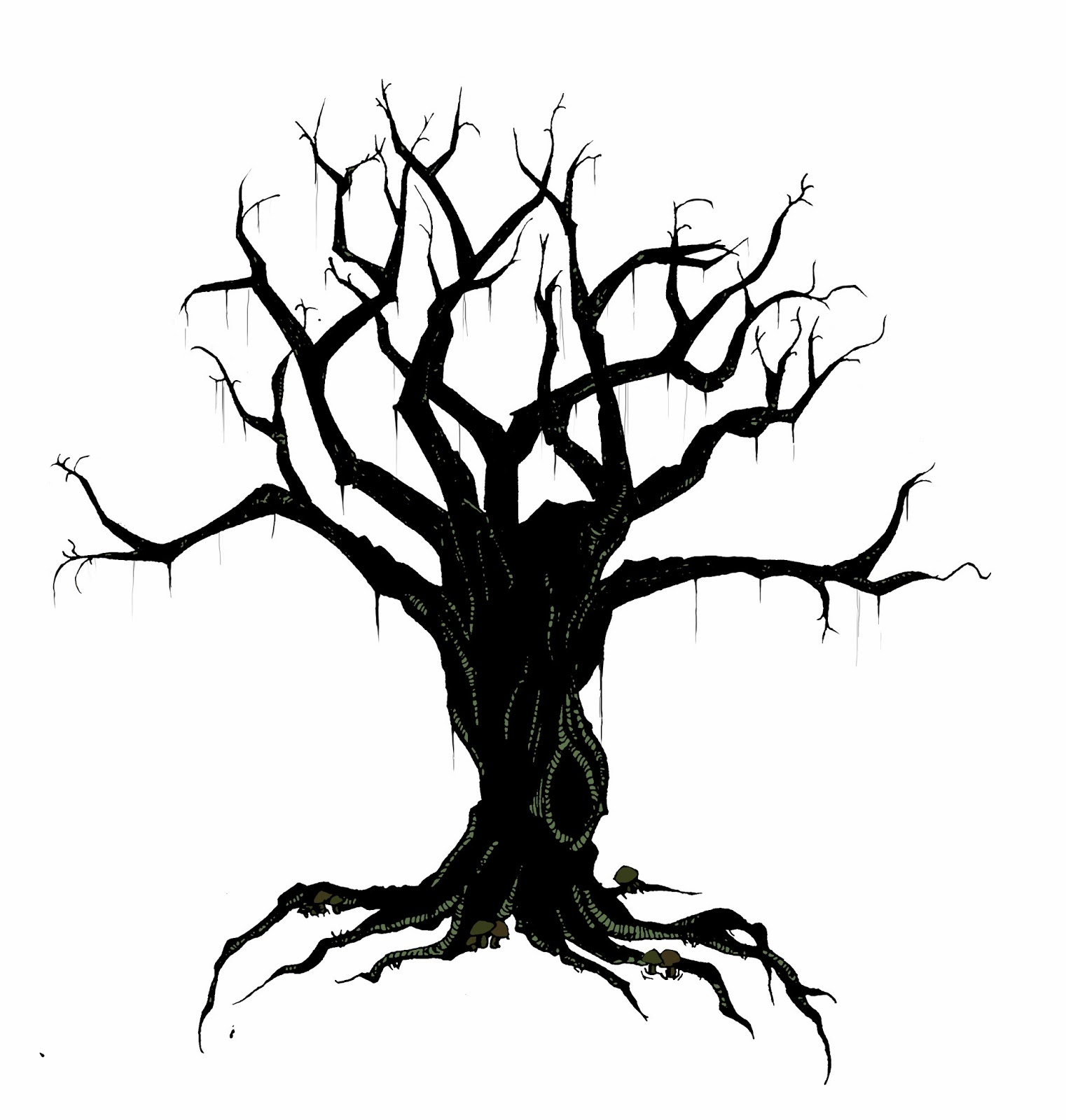 1522x1600 Spooky Tree Drawing Creepy Tree Drawing How To Draw A Creepy Tree