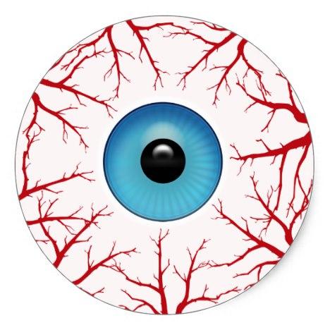 468x468 Creepy Bloodshot Eyeball Classic Round Sticker Halloween Cards