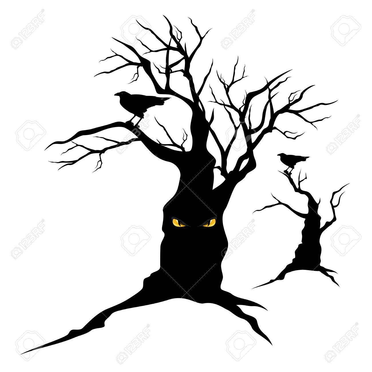 1300x1300 Black Raven Sitting On Creepy Halloween Tree With Evil Eyes