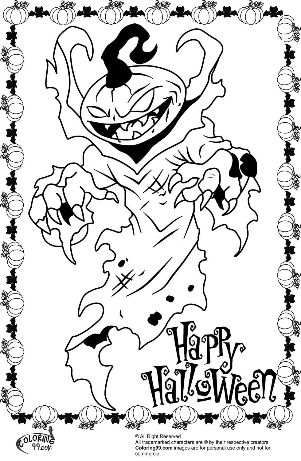 980x1500 Scary Coloring Pages