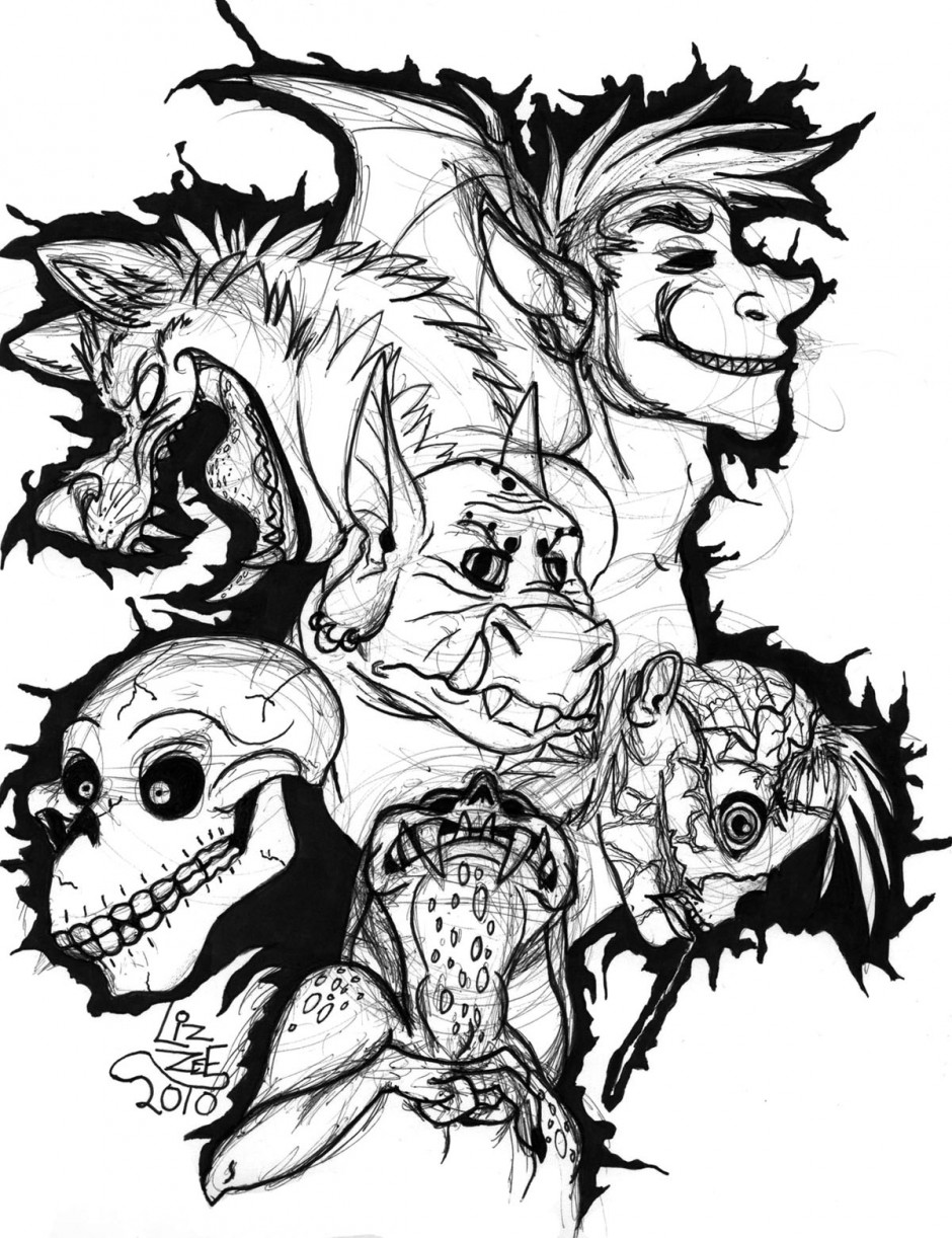 980x1500 Scary Coloring Pages 940x1222 Monster Drawings Clipart Panda