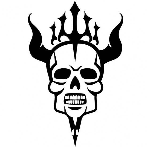 626x626 Scary Skull With Horns Vector Illustration Vector Free Download