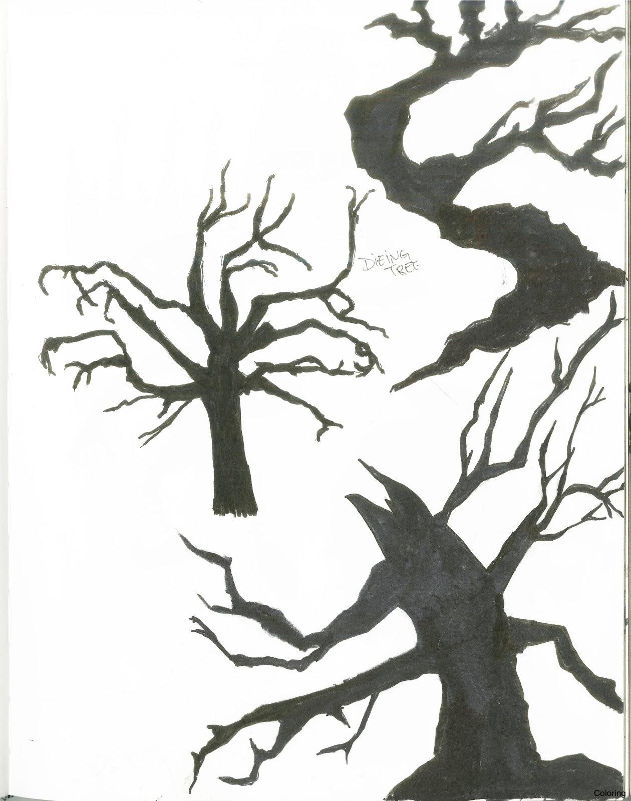 1260x1600 How To Draw A Dead Tree Coloring Trees Easy Creepy Diaiz