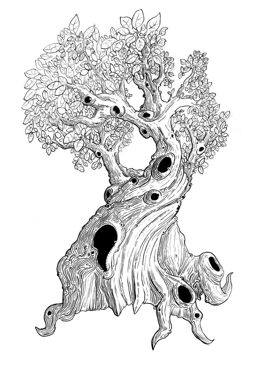 900x1260 Spooky Tree Drawing Spooky Tree Sketchlongestne
