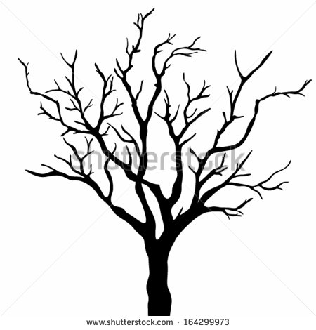 450x470 Scary Bare Black Tree Silhouette Tree Silhouettes. Vector