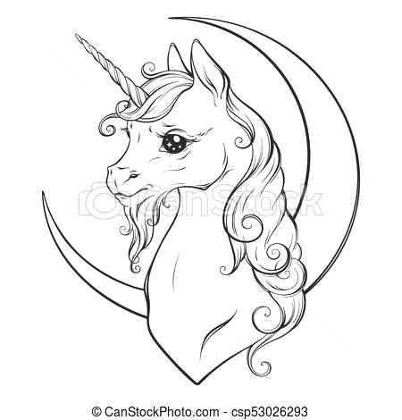 450x470 Crescent Moon Coloring Page Unicorn And Crescent Moon Coloring