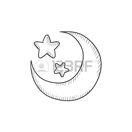 450x450 Crescent Moon With Stars At Night, Evening Or Nighttime Line