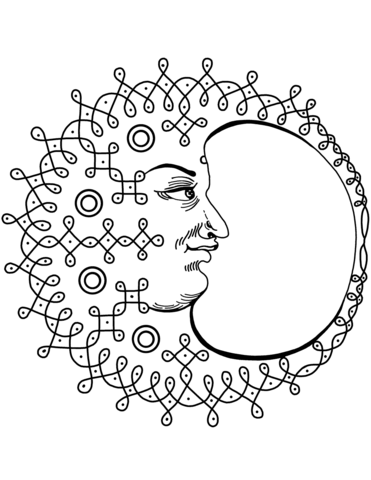 371x480 Crescent Moon With Face Coloring Page Free Printable Coloring Pages