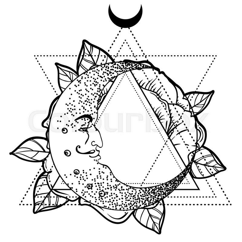 800x800 Crescent Moon, Rose Flower, Sacred Geometry. Blackwork Tattoo