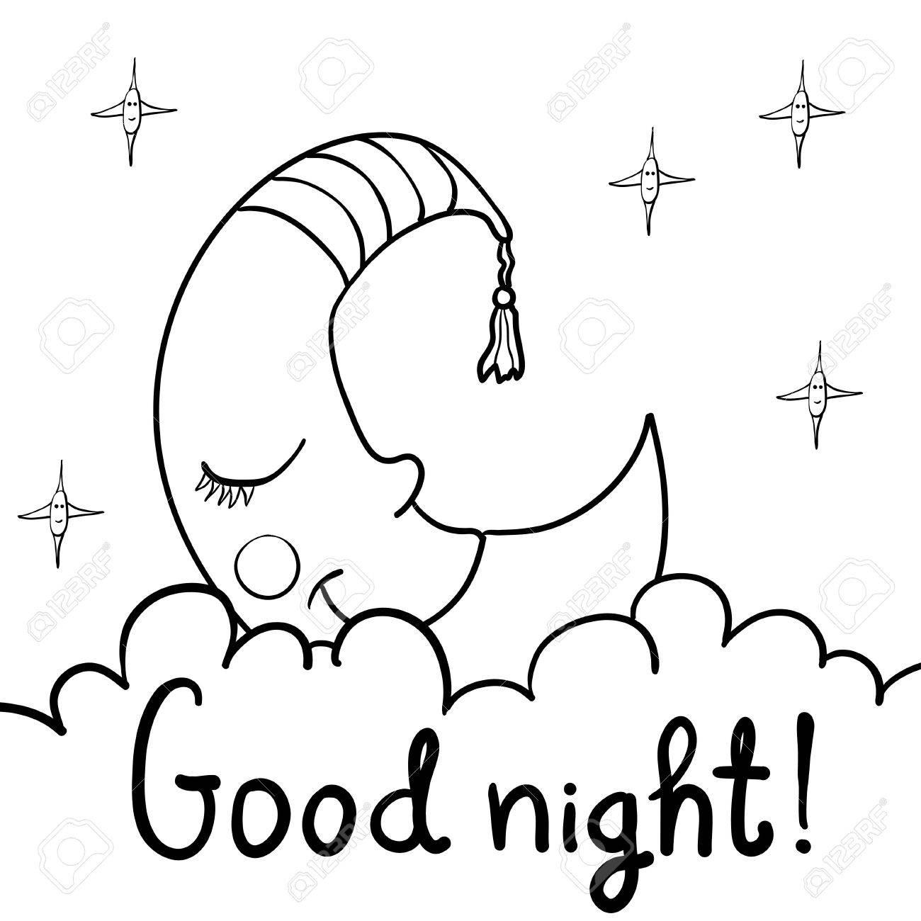 1300x1300 Cute Cartoon Demilune, Crescent, Moon With Face Sleeping On Fluffy