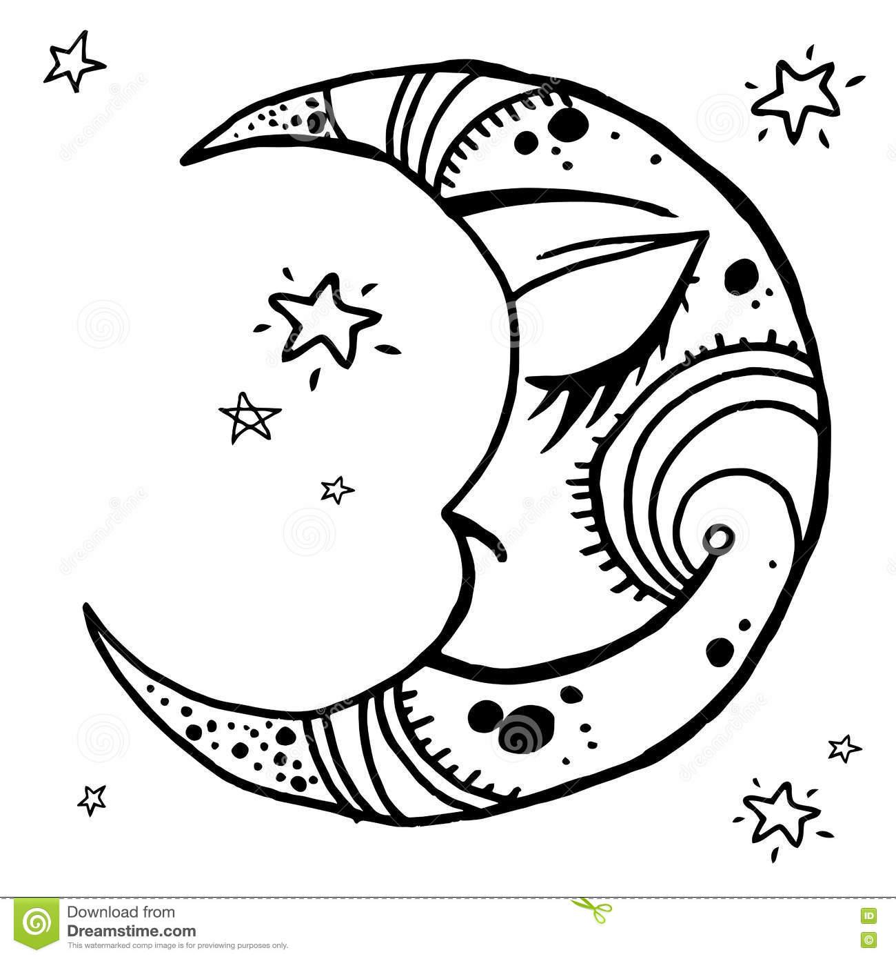 1300x1390 Drawn Moon Hand Drawn