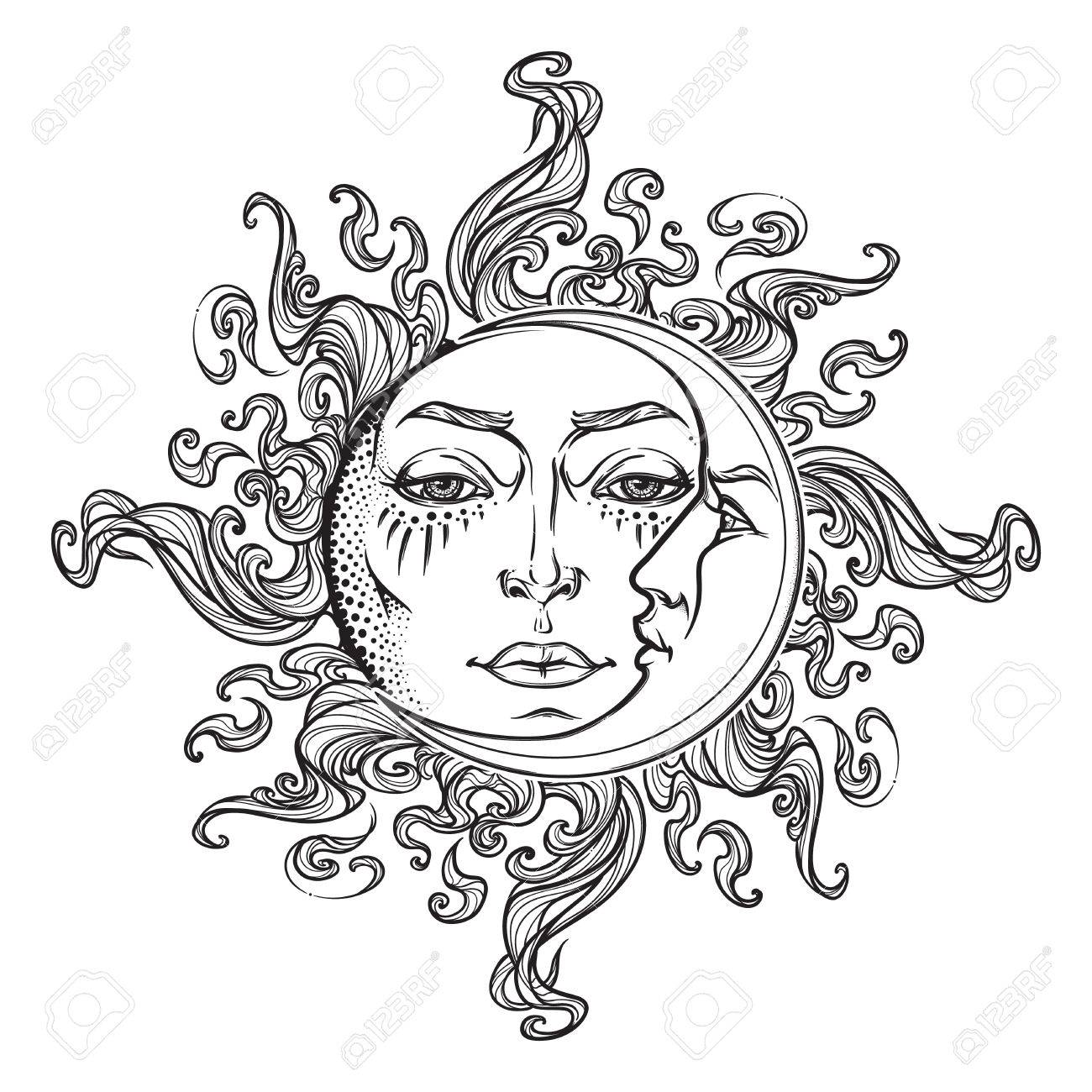 1300x1300 Fairytale Style Hand Drawn Sun And Crescent Moon With A Human
