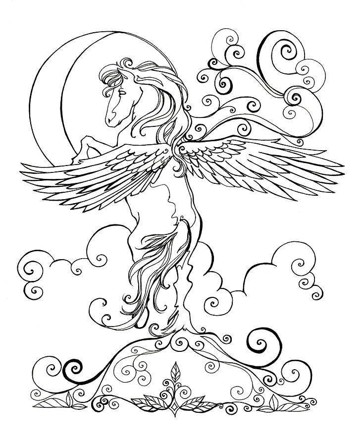 731x900 Pegasus And Crescent Moon Drawing By Katherine Nutt