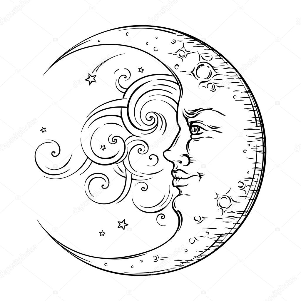 1024x1024 Antique Style Hand Drawn Art Crescent Moon. Boho Chic Tattoo