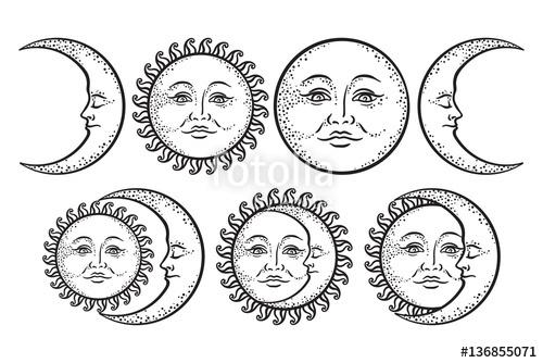 500x334 Boho Chic Flash Tattoo Design Hand Drawn Art Sun And Crescent Moon