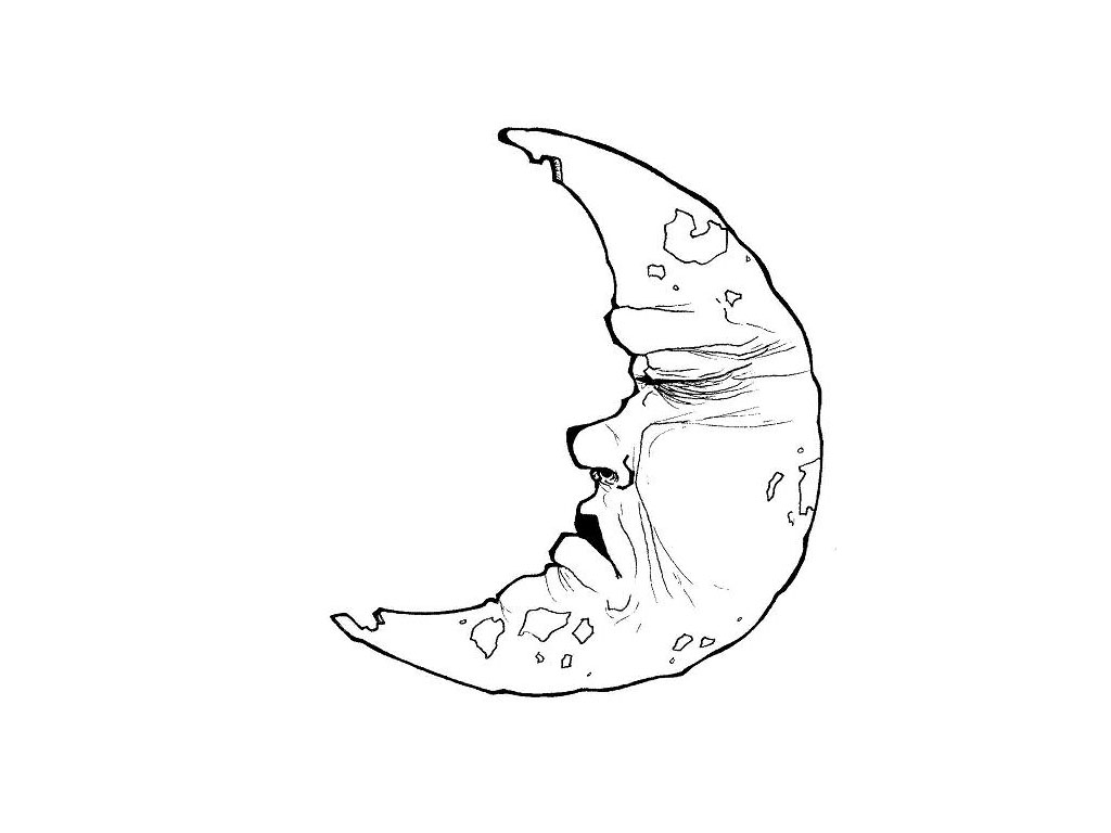 Half Crescent Moon With Face Tattoo: Crescent Moon Silhouette At GetDrawings