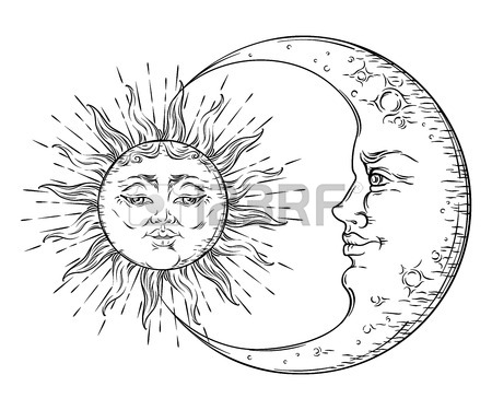 450x375 Antique Style Hand Drawn Art Sun And Crescent Moon Boho Chic