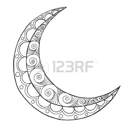 450x450 Crescent Moon Coloring Page Half Moon Greeting Design Coloring