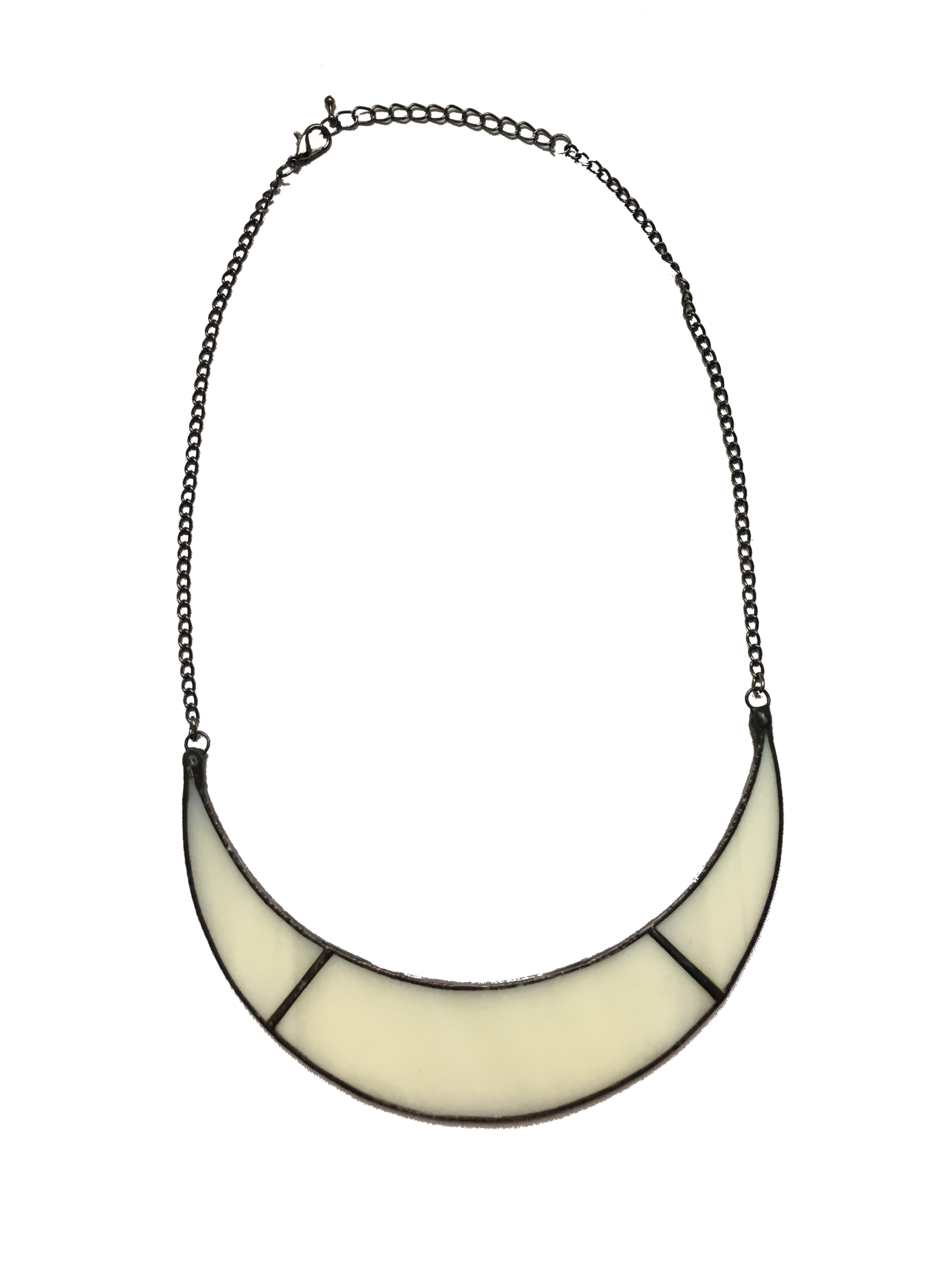 1536x2048 Handmade Jewelry White Glass Cresent Moon Necklace From Our
