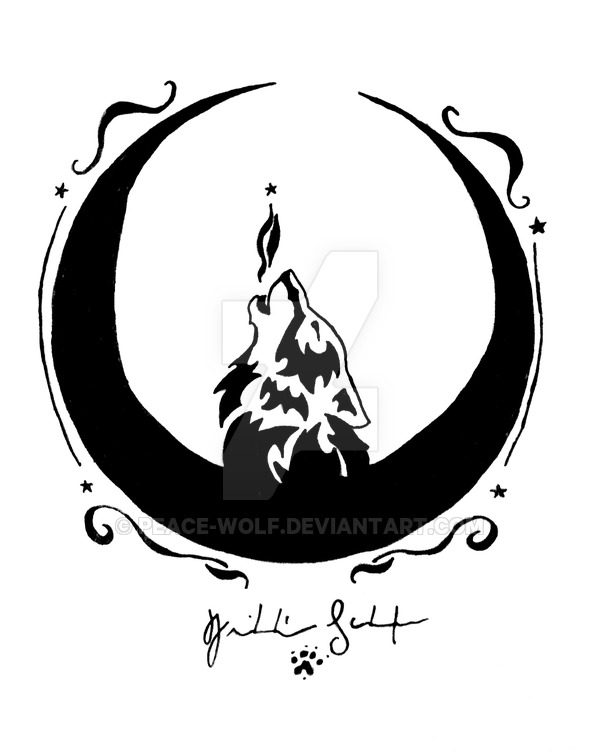600x752 Moon Crescent Wolf By Peace Wolf