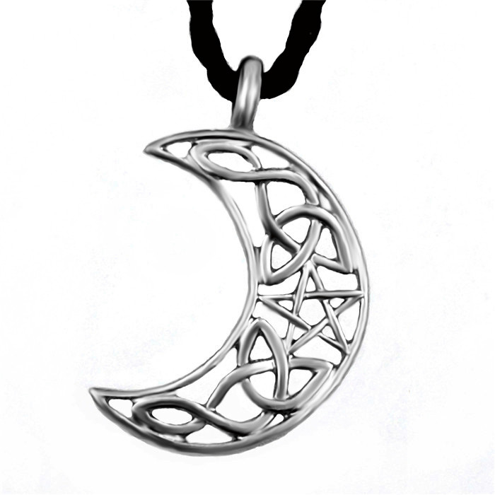 700x700 Silver Hollow Celtic Cresent Star Knot Moon Men's Women's Fashion