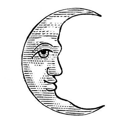 381x400 Crescent Moon Face Outline Clipart