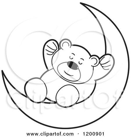 450x470 Cartoon Of A Black And White Teddy Bear Sleeping On A Crescent