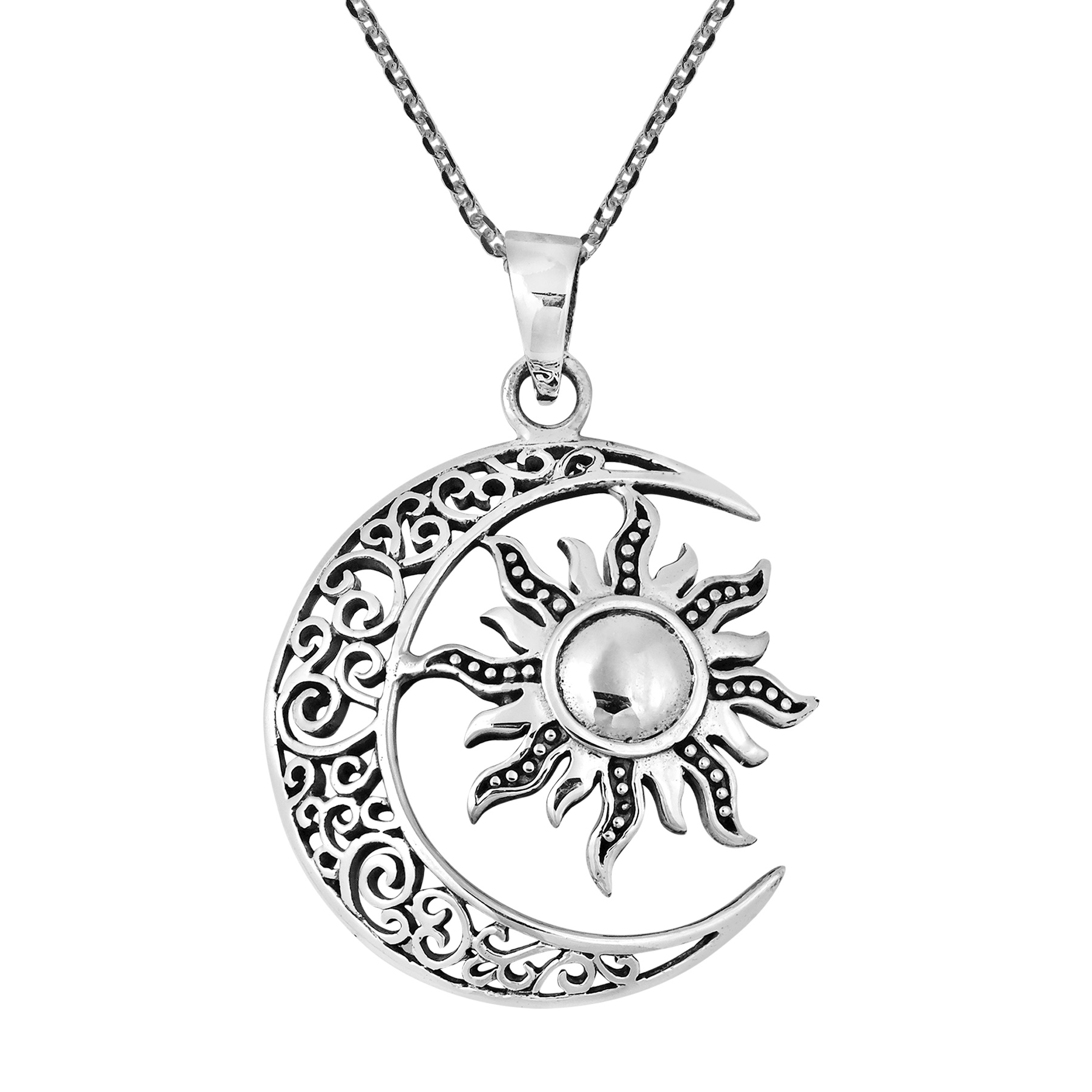 1804x1804 Celtic Crescent Moon And Sun Eclipse Sterling Silver Necklace