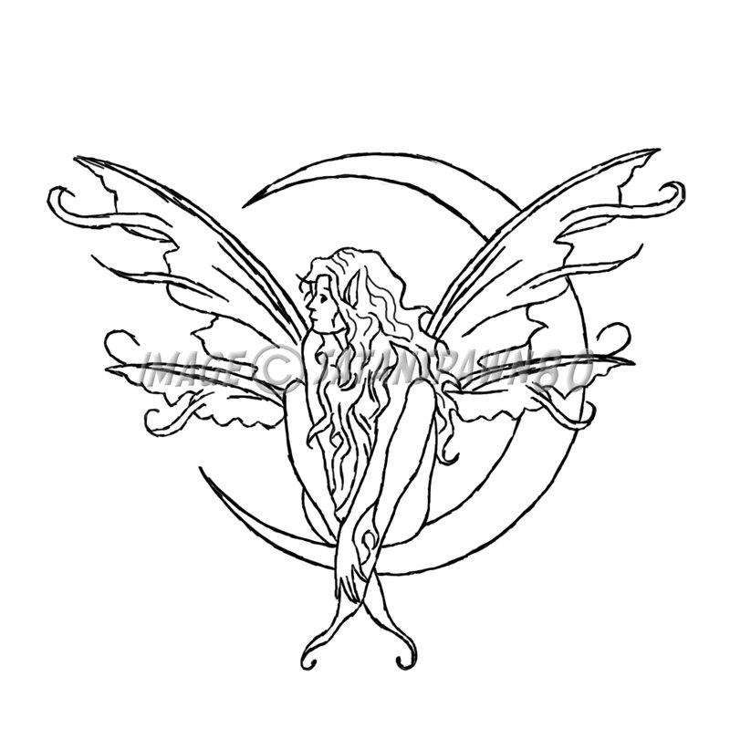 800x810 Collection Of Black Fairy On Crescent Moon Tattoo Stencil